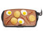 Copper Titanium Electric Non-Stick Griddle 10.5in x 20in silo top view with food prop