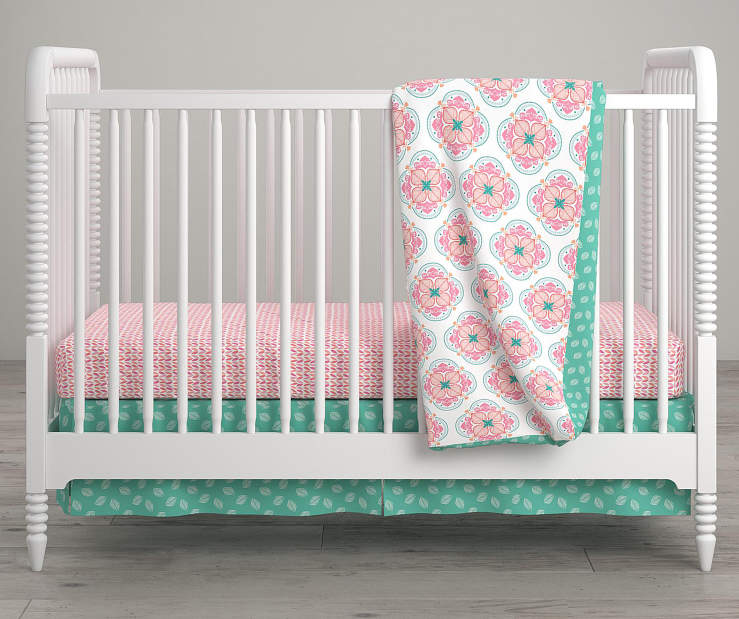 Cora Pink and White Flower Crib and Toddler 4 Piece Bedding Set lifestyle