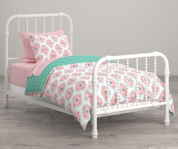 Cora Pink and White Flower Twin 5 Piece Bedding Set lifestyle