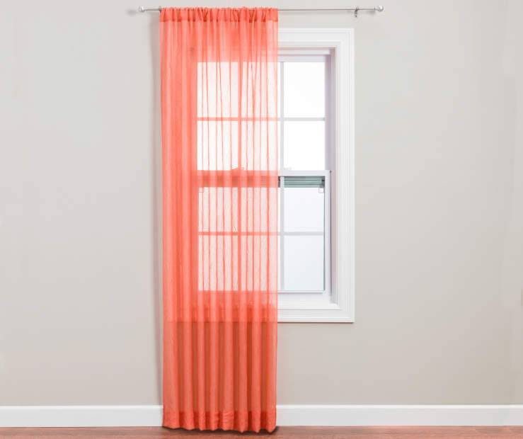 Coral Crushed Voile Sheer Panel 84 Inches on Window Room View