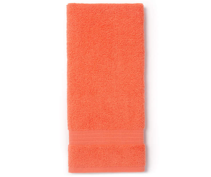 Coral Hand Towel Folded Overhead View Silo Image