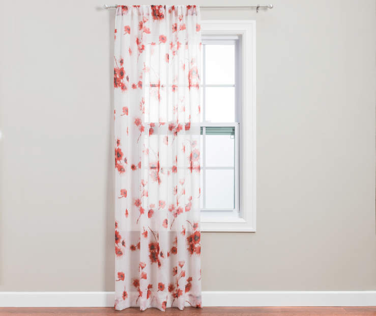 Coral Nikita Crushed Voile Floral Panel 84 Inches on Window Room View