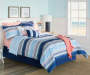 Coral and Blue Sandbridge Stripe 12 Piece Queen Reversible Comforter Set lifestyle