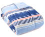 Coral and Blue Sandbridge Stripe 12 Piece Queen Reversible Comforter Set silo angled