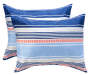 Coral and Blue Sandbridge Stripe 12 Piece Queen Reversible Comforter Set silo front