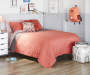 Coral and Gray 3 Piece FullQueen Reversible Quilt Set lifestyle bedroom