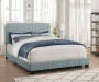 Cornflower Blue Mid Century Upholstered Queen Bed Frame bedroom setting