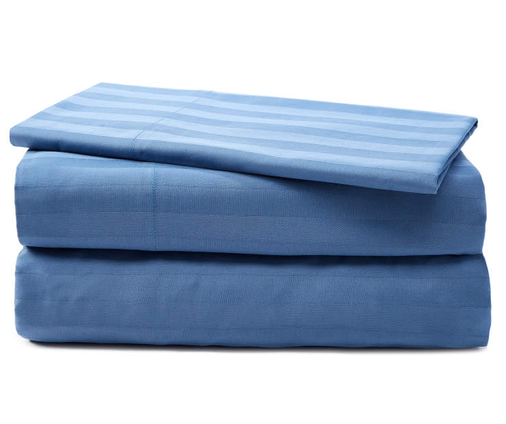 Coronet Blue Striped Twin 320 Thread Count 3 Piece Sheet Set silo front
