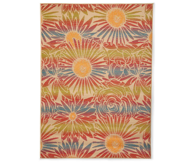 Costa Floral Indoor Outdoor Area Rug 7 feet 10 inches by 9 feet 10 inches Silo Overhead View