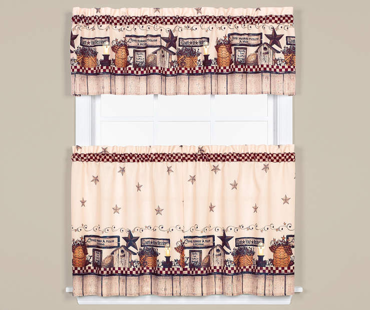 Count Your Belssings 3 Piece Tier and Valance Set On Window Room Environment Lifestyle Image