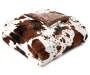 Cow and Chocolate Brown Faux Fur Reversible Full Queen Comforter Silo