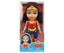DC Superhero Girls Toddler Wonder Woman Doll with Light Skin, Blue Eyes, Black Hair, Gold Star Tiara, Red Shirt with W Logo, Star Blue Shorts, Red Boots and Silver Arm Guards In Package Silo Image