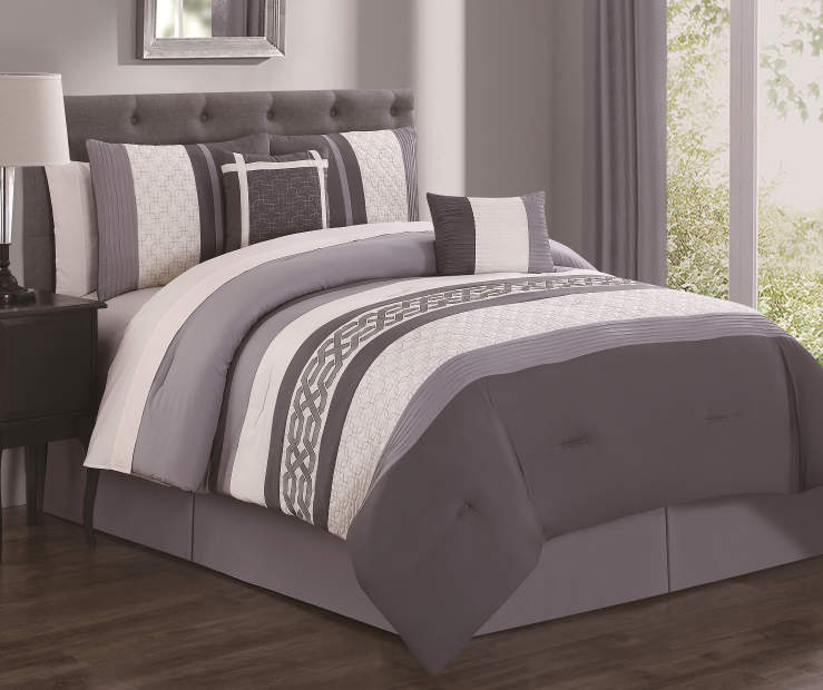 Dale Gray and Ivory 10-Piece King Comforter Set Lifestyle Image