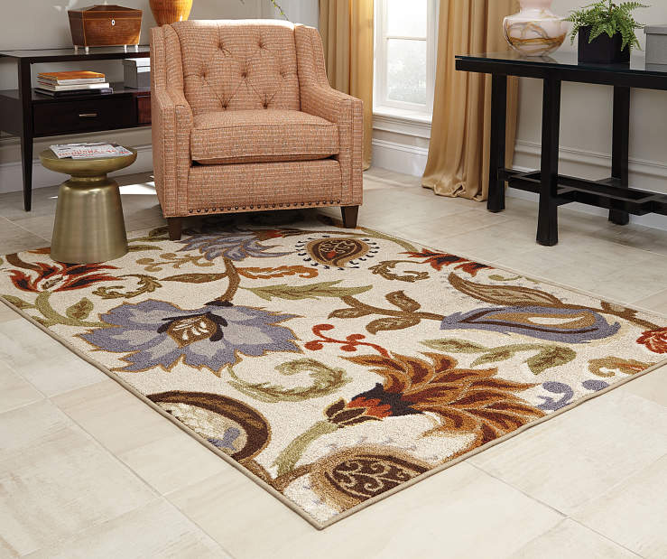 Dalewood Ivory Area Rug 3FT3IN x 5FT5IN Living Room with Arm Chair Lifestyle Image