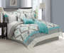 Damask Tiles Gray Teal and Cream 12 Piece Full Comforter Set bedroom setting