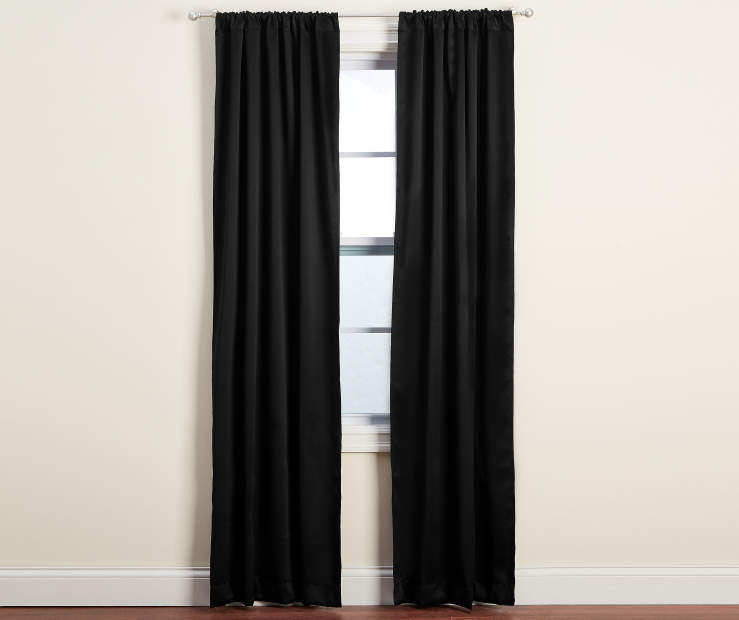 Dane Black Blackout Curtain Panel Pair 84 inches Window Lifestyle