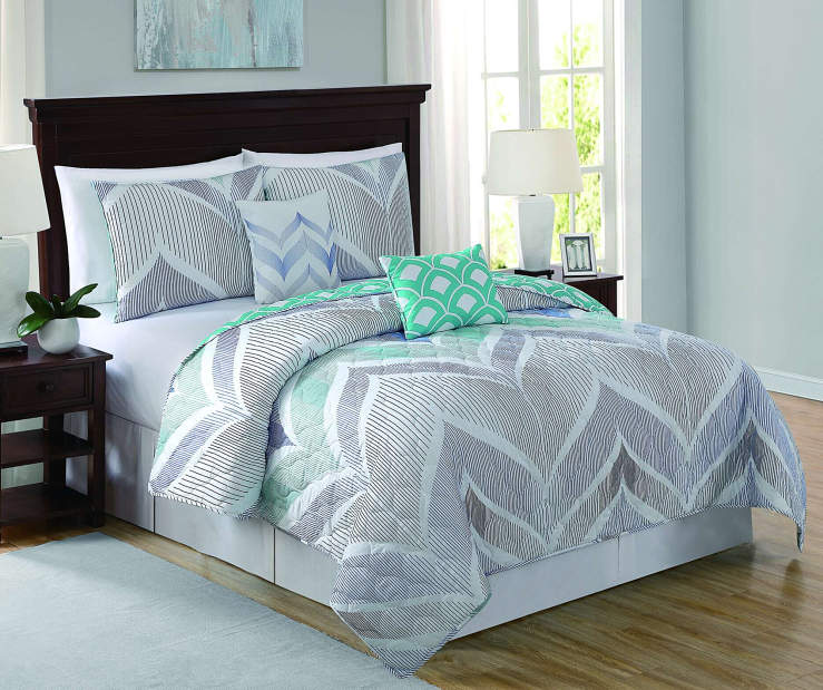 Darcy Chevron Blue White and Mint 5 Piece King Quilt Set On Bed Room Environment Lifestyle Image