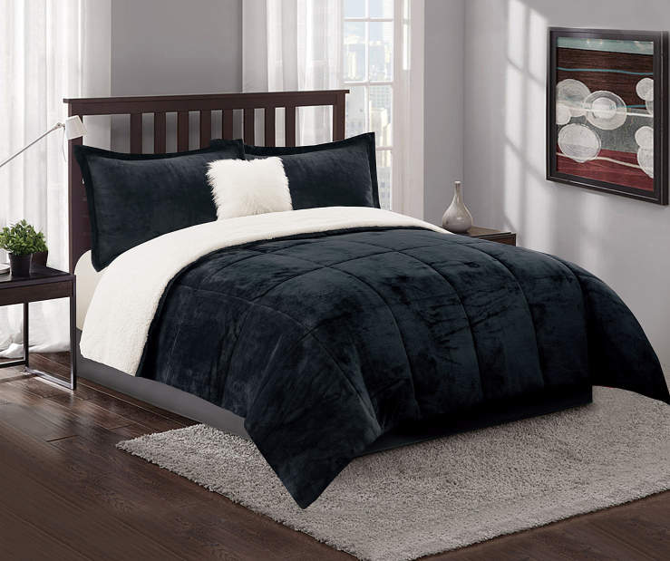Dark Gray and Sherpa Twin Full 4 Piece Reversible Comforter Set lifestyle bedroom