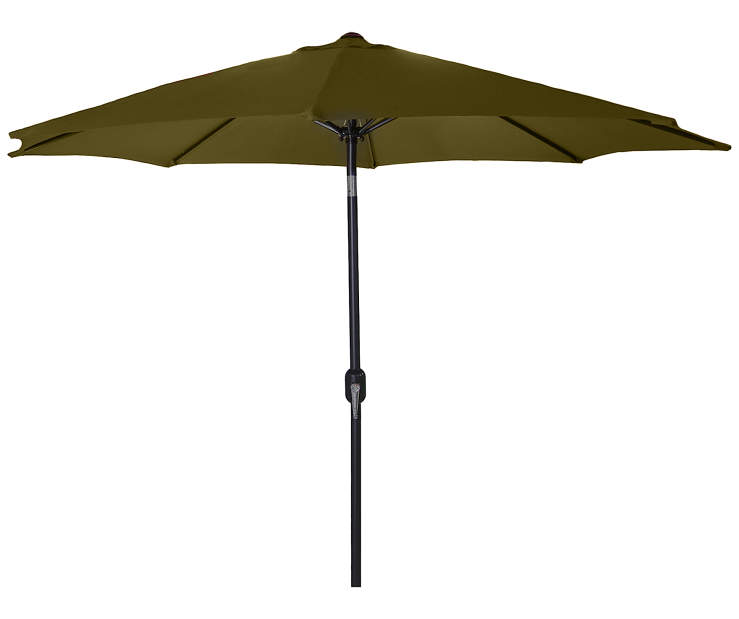 Dark Khaki Steel Market Patio Umbrella 7.5 Feet with Hand Crank Front View Silo Image