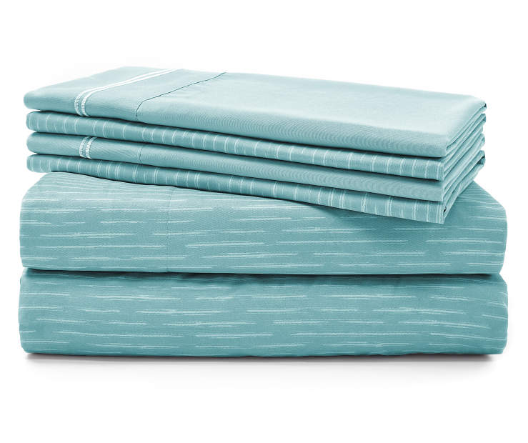 Deacon Aqua 6-Piece King Sheet Set Silo