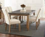 Debby Beige Upholstered Dining Chairs with Table Lifestyle