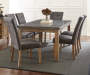 Debby Gray Upholstered Dining Chairs with Table Lifestyle