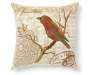 Decorative Bird and Branch Throw Pillow 20 Inches by 20 Inches Front Overhead View Silo Image