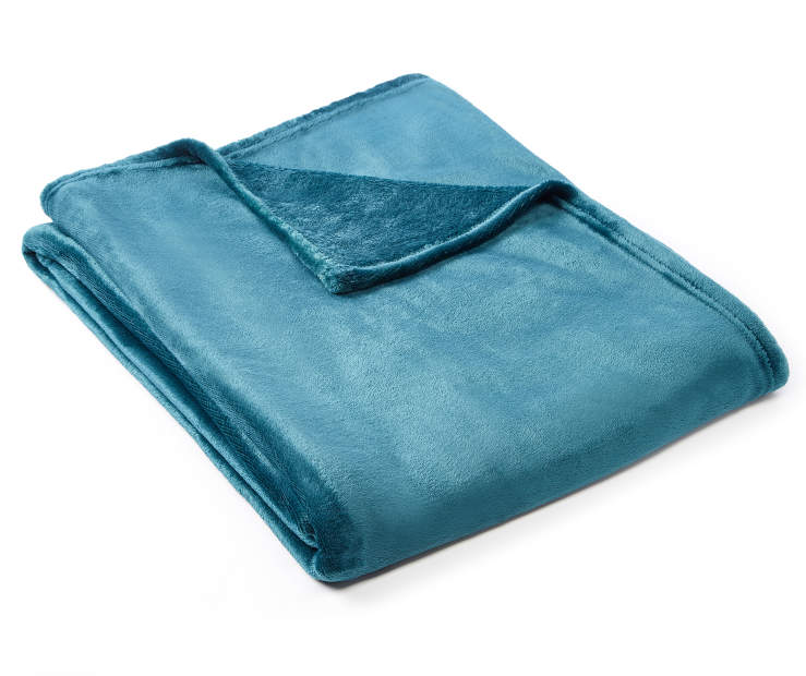 Deep Teal Velvet Plush Throw silo angled