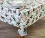 Deer and Trees PEVA Tablecloth 52 inch x 90 inch lifestyle