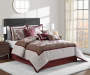 Devon Chocolate Brown Linen and Wine Leaves 8 Piece King Comforter Set On Bed Room Environment Lifestyle Image