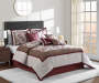 Devon Chocolate Brown Linen and Wine Leaves 8 Piece Queen Comforter Set On Bed Room Environment Lifestyle Image