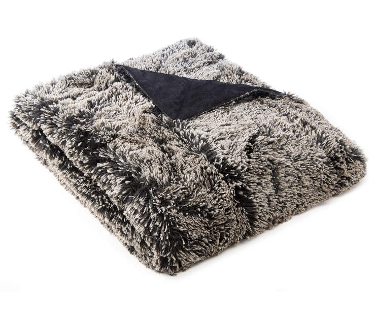 Dipped Black Faux Fur Luxe Throw silo front