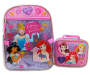 Disney Princess backpack and lunch bag side by side front view silo image