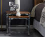 Distressed 2 Piece Wood and Metal Nesting Table Set bedroom setting