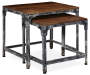 Distressed 2 Piece Wood and Metal Nesting Table Set silo angled