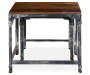 Distressed 2 Piece Wood and Metal Nesting Table Set silo front