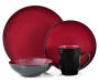 Domo Black and Red 16 Piece Dinnerware Set silo front