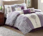 Donavan Purple Lilac and Cream 8 Piece Queen Comforter Set On Bed Room Environment Lifestyle Image