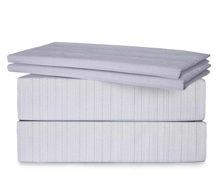 Dotted Stripe 6 Piece King Sheet Set Folded and Stacked Silo Image