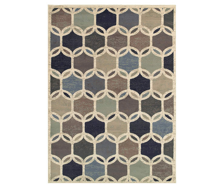 Dutch Ivory Area Rug 5 Feet 3 Inches by 7 Feet 3 Inches Overhead View Silo Image