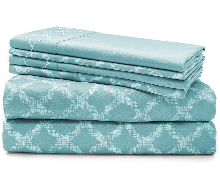 Easton Aqua 6-Piece King Sheet Set Silo