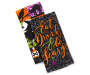 Eat Drink and Be Scary Kitchen Towels 2 Pack Stacked and Fanned Overhead View Silo Image