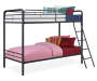 Eleana Black Metal Twin Bunk Bed silo angled with bedding props