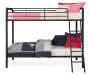 Eleana Black Metal Twin Bunk Bed silo side view bedding props