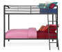 Eleana Black Metal Twin Bunk Bed silo side view with bedding props