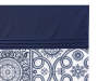 Elena Blue and White Medallion Fabric Shower Curtain Close Up Of Pattern and Solid Blue Border