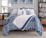 Elena Navy and Gray Comforter and Quilt 10 Piece King Queen Set On Bed Front View Blue Comforter Up Lifestyle Image