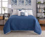 Elena Navy and Gray Comforter and Quilt 10 Piece King Queen Set On Bed Front View Blue Quilt Up Lifestyle Image