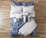 Elena Navy and Gray Comforter and Quilt 10 Piece King Queen Set On Bed Overhead View Blue Comforter Up Lifestyle Image