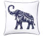 Elephant Throw Pillow 18 inches x 18 inches silo front